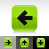 Pulsante verde lucido web con segno di freccia nera — Vettoriale Stock