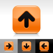 Orange glossy web button with black arrow sign — Stock Vector