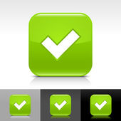 Green glossy web button with black check mark sign. — Stock Vector
