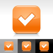 Orange glossy web button with black check mark sign. — Stock Vector