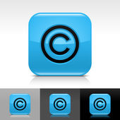Blue glossy web button with black copyright sign — Stock Vector