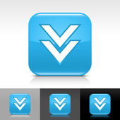 Blue glossy web button with white arrow download sign — Stockvector
