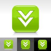 Botón verde brillante web con flecha blanca descargar cartel — Vector de stock