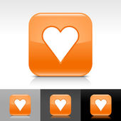 Orange glossy web internet button with heart sign — Stock Vector