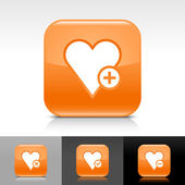 Orange glossy web internet button with white heart favourite icon web sign — Stock Vector