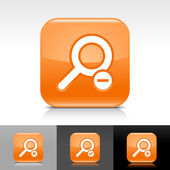 Orange glossy web button with white search sign — Stock Vector