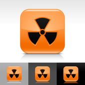 Orange glossy web internet button with radiation sign — Stock Vector