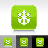 Green glossy web button with low temperature black snowflake sign. — Stock Vector