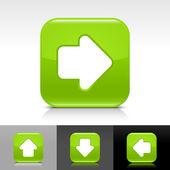 Gröna glänsande webben knappen med vit pil tecken — Stockvektor