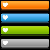 Matted color rounded buttons with heart symbol on black — Stock Vector