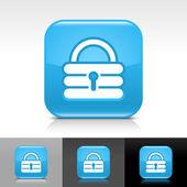 Pulsante di blocco web lucido blu con bianco aggiungere il segno. icona di forma quadrata arrotondata con ombra e riflesso su sfondo bianco, grigio e nero — Vettoriale Stock
