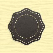 Blank leather badge in Retro Vintage Style. Template Premium Quality and Satisfaction Guaranteed labels. Rounded polygon shape on wood texture background. — Stock Vector