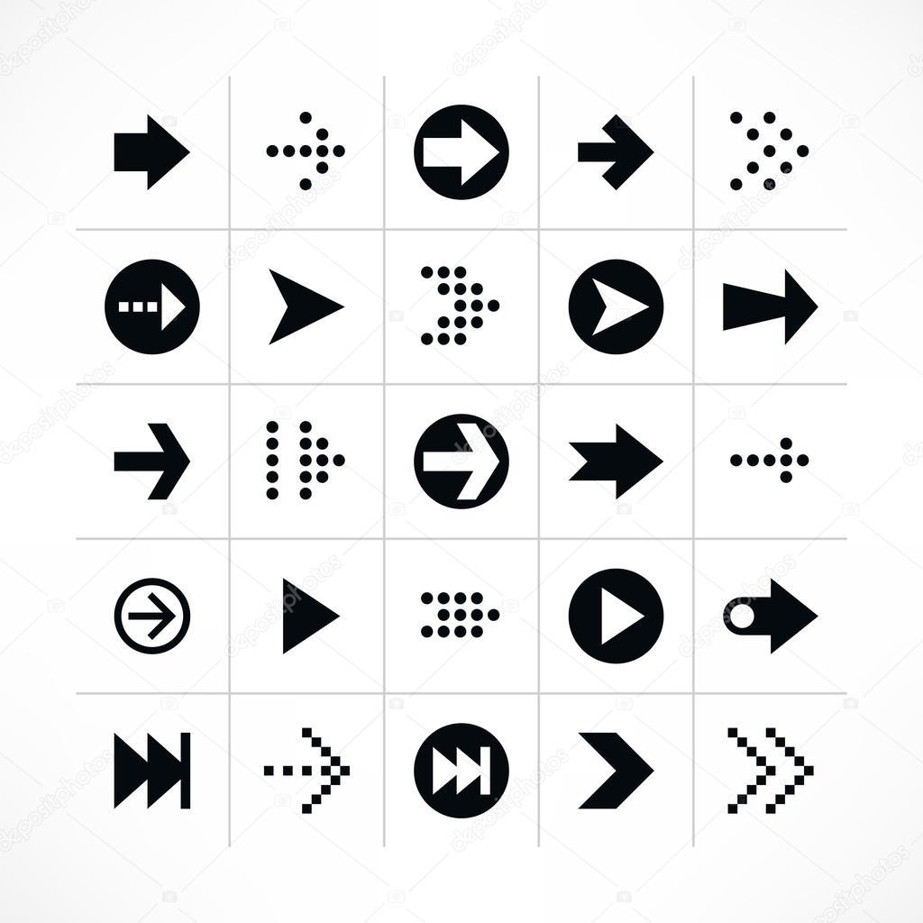 箭头符号象形图组.简单的黑色图标在白色背景上