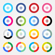 Simple popular social networks icon with plus sign — Stock Vector