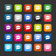 Royalty-Free Stock Vector Image: 25 smooth satined web 2.0 button with chat room sign. Colored rounded square shapes with black shadow on gray background. This vector illustration saved in 8 eps