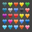 25 heart sign glossy web button. Blank color shape with black drop shadow on dark gray background with noise effect. Vector illustration EPS 10. — Stock Vector