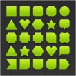 Royalty-Free Stock Vector Image: 25 variations form green button with light stripes. Satin shapes with shadow on perforated metal seamless texture black background. Vector 10 eps. See more web internet design elements in my gallery