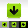 Green glossy web button with black arrow sign - Stockvectorbeeld