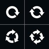 4 pijl pictogram Vernieuwen herladen rotatie lus teken reeks — Stockvector
