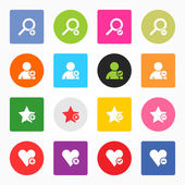 Loupe, user profile, star favorite, heart bookmark icon with plus, delete, check mark and minus sign. 16 popular circle and rounded square internet button. Vector illustration design element 8 eps — Stock Vector