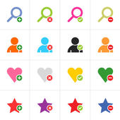 16 web pictogram color set. Loupe, user, star, heart with green plus, red reject, green check mark, red minus sign. Simple solid plain flat minimal icon. Vector illustration design elements 8 eps — Stock Vector