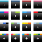 Simple popular social networks icon with plus sign. Black square shape internet button with popular colors striped lines on white background. Vector illustration web design elements saved in 10 eps — Stock Vector