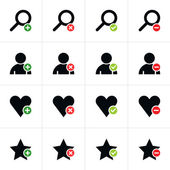 16 web pictogram set. Loupe, user, star, heart with plus, delete, check mark, minus sign. Simple black icon with colored element on white. Solid plain flat minimal style. Vector illustration in 8 eps — Stock Vector
