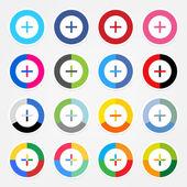 Proste popularnych serwisów społecznościowych ikony ze znakiem plus — Wektor stockowy