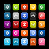 25 smooth satined web 2.0 button with low temperature sign snowflake symbol. Colored rounded square shapes with color reflection on black background. This vector illustration saved in 8 eps — Stock Vector