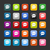 25 smooth satined web 2.0 button with chat room sign. Colored rounded square shapes with black shadow on gray background. This vector illustration saved in 8 eps — Stock Vector