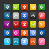 25 smooth satin web button with low temperature sign snowflake symbol. Colored rounded square shapes with shadow on gray background. This vector saved in 8 eps — Stock Vector