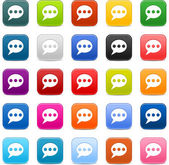 25 smooth satined web 2.0 button with chat room sign. Colored rounded square shapes with gray shadow on white background. This vector illustration saved in 8 eps — Stock Vector