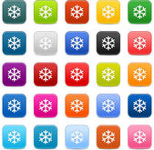 25 smooth satin web 2.0 button with low temperature sign snowflake symbol. Colored rounded square shapes with black shadow on white background. Vector in 8 eps. — Stock Vector