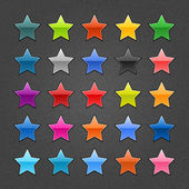 25 star sign glossy web button. Blank color shape with black drop shadow on dark gray background with noise effect. Vector illustration EPS 10. — Stock Vector