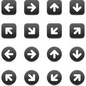 Dark gray web button with white arrow sign. Round and square icon with shadow on white background. This vector illustration saved in 8 eps — Stock Vector