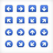 Blue sign arrow sticker on cut paper pocket — Stock Vector