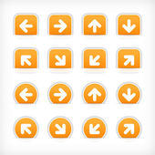 Orange sign arrow sticker on cut paper pocket — Stock Vector