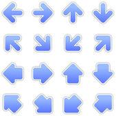 Blue arrow sign sticker web button — Stock Vector