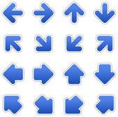 Cobalt blue arrow sign sticker web button — Stock Vector