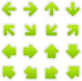 Green arrow sign sticker web button — Stock Vector