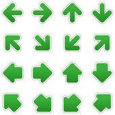 Dark green arrow sign sticker web button — Stock Vector
