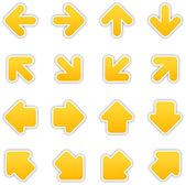 Yellow arrow sign sticker web button — Stock Vector