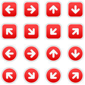 Red stickers with arrow sign — Stock Vector