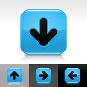 黒い矢印記号の付いた青い光沢があるウェブ ボタン — ストックベクタ