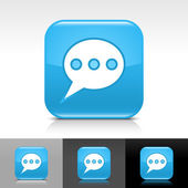 Blue glossy web button with white chat room sign. — Stock Vector