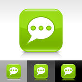 Green glossy web button with white chat room sign — Stock Vector