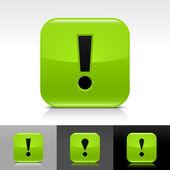 Grüne glänzende web-taste mit schwarzen ausrufezeichen zeichen — Stockvektor