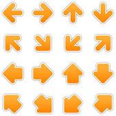 Orange arrow sign sticker web button — Stock Vector