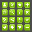 16 glossy green icon with basic sign. Rounded square shape internet web button with color reflection and black shadow on dark gray background. This illustration vector design elements saved 8 eps — Stock Vector