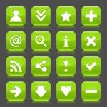 16 глянцевый зеленый значок с основным знаком. Округлые квадратную форму Интернет веб кнопку с отражением цвета и черные тени на темно-сером фоне. Это элементы дизайна векторные иллюстрации сохранены 8 eps — Cтоковый вектор #23858247